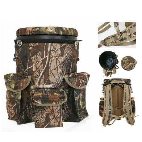 Backpack Camo Spinning Swivel Bucket Seat Hunting Shooting Seat Storage Pockets